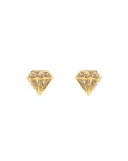 Złote kolczyki sztyft diament z białymi kamieniami- pr. 585