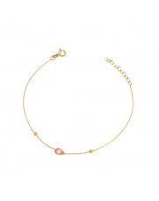 Złota bransoletka z różowym kamieniem - pr. 585