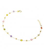 Złota bransoletka z kolorowymi kamieniami - pr. 585