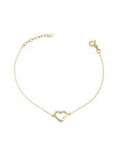 Złota bransoletka serce z nieskończonością - pr. 585