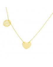 Złoty naszyjnik-celebrytka serce i ażurowe koło pr. 585
