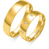 Złote obrączki z cyrkoniami, soczewka - pr. 585