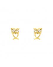 Złote kolczyki sztyfty sowa - pr.585