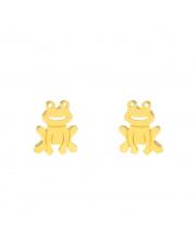 Złote kolczyki sztyfty żabka - pr.585