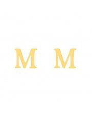 Złote kolczyki sztyfty literka M - pr.585