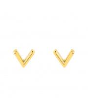 Złote kolczyki sztyfty literka V - pr.585