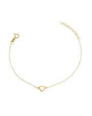 Złota bransoletka celebrytka kontur serca - pr.585