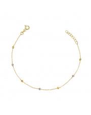 Złota bransoletka celebrytka z diamentowanymi kulkami  - pr.585