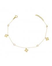 Złota bransoletka celebrytka z kwiatkami i cyrkoniami - pr.585