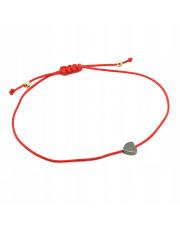 Złota bransoletka na sznurku z sercem -pr.585