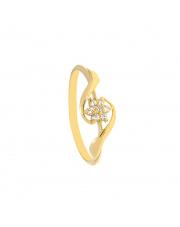 Złoty pierścionek kwiatek z cyrkonii - pr.585