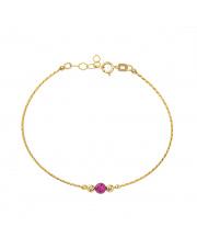 Złota bransoletka z fioletową kulką - pr.585