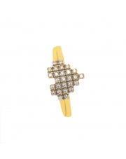 Złoty pierścionek serce z kamieniami - pr.333