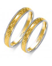 Złote obrączki z diamentowaniem, soczewka - pr. 585