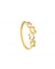 Złoty pierścionek z sercami - pr.333