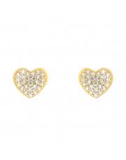 Złote kolczyki sztyfty - serca z kamieniami - pr.333