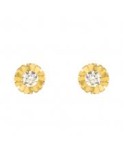 Złote kolczyki sztyfty - kwiatek z cyrkonią - pr.333