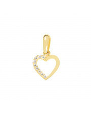 Złota zawieszka kontur serca z kamieniami pr. 333