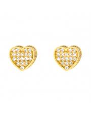 Złote kolczyki sztyfty - serce z cyrkoniami - pr.333
