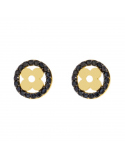 Złote kolczyki sztyfty - kwiatek z czarnymi cyrkoniami - pr.333