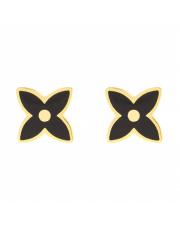 Złote kolczyki sztyfty - z czarnym kwiatkiem- pr.333