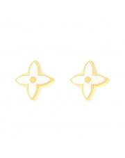 Złote kolczyki sztyfty - z białym kwiatkiem- pr.333