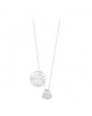 Srebrny naszyjnik celebrytka z kółkiem i sercem- pr. 925