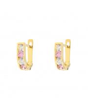 Złote kolczyki z białymi i różowymi cyrkoniami pr. 333