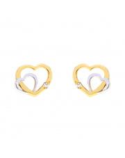 Złote kolczyki sztyfty dwa złączone serca pr. 585