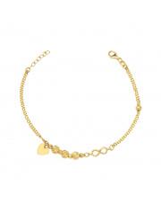 Złota bransoletka z kulkami i sercem - pr. 585