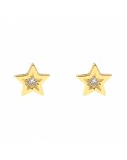 Złote kolczyki sztyfty gwiazdki z cyrkonią pr. 585