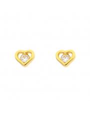 Złote kolczyki sztyfty serce z cyrkonią pr. 585