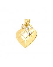 Złota zawieszka serce kłódka z kluczykiem pr. 585