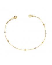 Złota bransoletka z diamentowanymi kulkami pr. 585