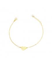 Złota bransoletka z ażurowym sercem pr. 585