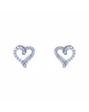 Srebrne kolczyki sztyfty kontur serca pr. 925