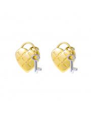 Złote kolczyki sztyfty - serce kłódka pr. 585