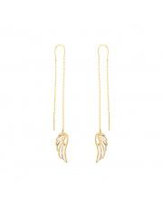 Złote kolczyki przewlekane przez ucho - skrzydło pr.585