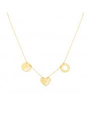 Złoty łańcuszek celebrytka kółka i serce pr. 585