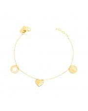 Złota bransoletka z kółkami i sercem pr. 585