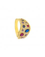 Złoty pierścionek z kolorowymi cyrkoniami - pr.333