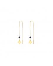 Złote kolczyki przewlekane przez ucho - koniczynka pr. 585