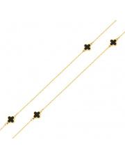Złoty łańcuszek z czarnymi koniczynkami 69cm pr. 375