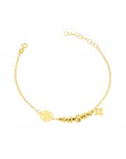 Złota bransoletka A'la Pandora z kwiatkiem pr.585
