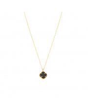 Złoty łańcuszek celebrytka z czarnym kwiatkiem pr. 585
