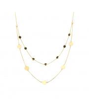 Złoty łańcuszek z czarnymi kamieniami i kółkami pr.585