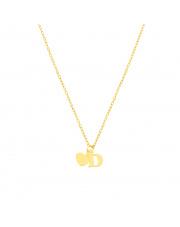 Złoty łańcuszek celebrytka serce i literka D pr. 585