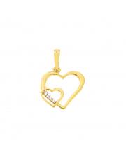 Złota zawieszka serce w sercu pr. 333