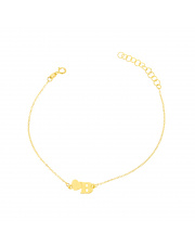 Złota bransoletka z sercem i literką B - pr. 585