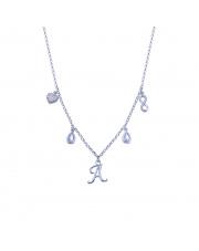 Srebrny łańcuszek celebrytka z zawieszkami - literka A pr. 925